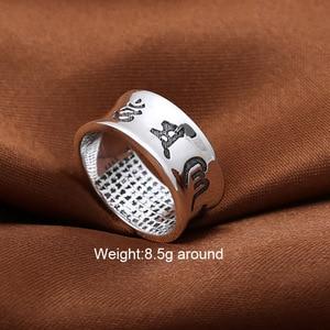 Image 2 - Anillo Om Mani Padme Hum 100% joyería de plata de ley 925 auténtica para mujeres y hombres joyería hecha a mano estilo tailandés de plata Vintage