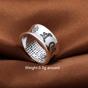 Image 2 - Om Ring Mani Padme Hum 100% Real Pure 925 Sterling Silver Jewelry Ring For Women And Men Thai Silver Vintage Handmade Jewelry