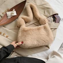 Shoulder-Bag Plush-Handbag Small Fluffy Soft Women Ladies Solid for Candy-Color Warm