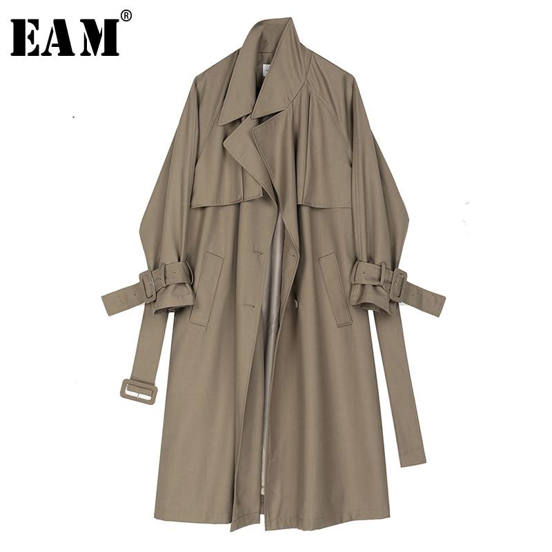 [EAM] Women Khaki Buckle Split Joint Big Size Trench New Lapel Long Sleeve Loose Fit Windbreaker Fashion Tide Spring 2020 1R548