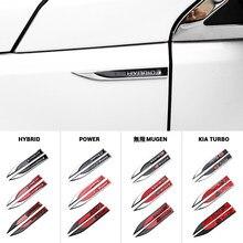 2 pièces 3D métal aile de voiture droite et gauche côté aile insigne autocollants Logo décoration pour Volkswagen GTI R GTD Honda Mugen Subaru Hyundai