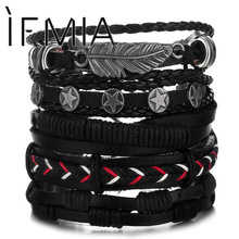 Bracelet Bangles Braided Star-Rope Gift Feather-Multilayer Handmade Vintage Men Fashion