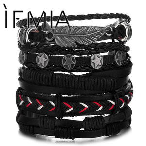 IFMIA Vintage Leaf Feather Multilayer Leather Bracelet Men Fashion Braided Handmade Star Rope Wrap Bracelets & Bangles Male Gift