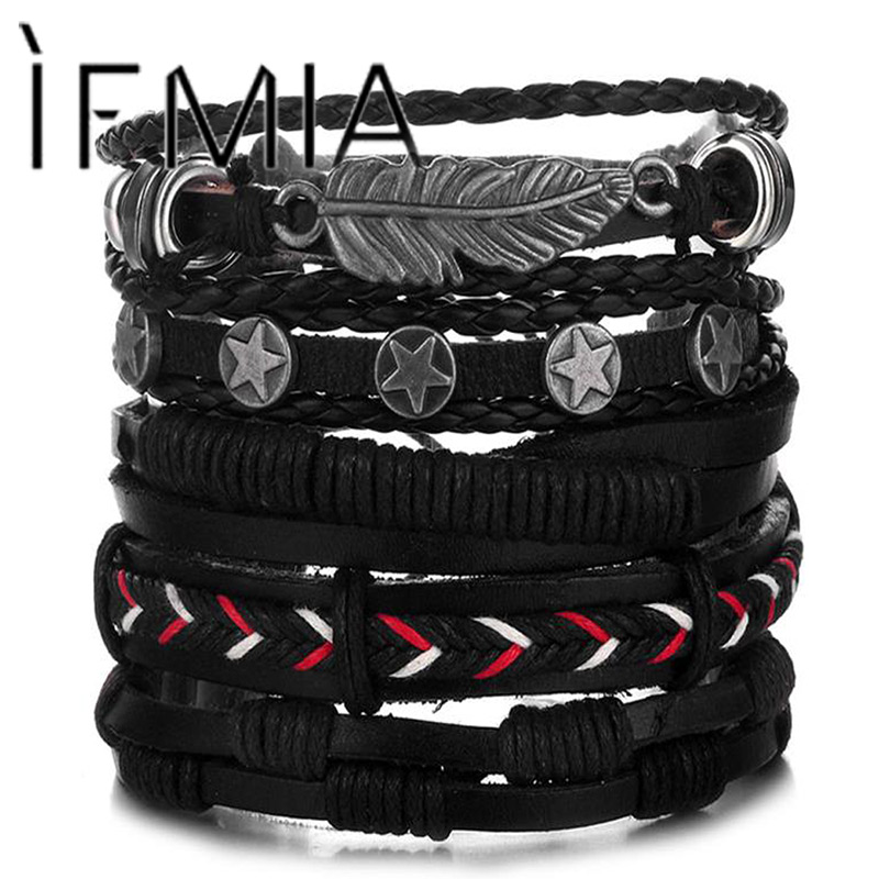 IFMIA Vintage Leaf Feather Multilayer Leather Bracelet Men Fashion Braided Handmade Star Rope Wrap Bracelets & Bangles Male Gift image