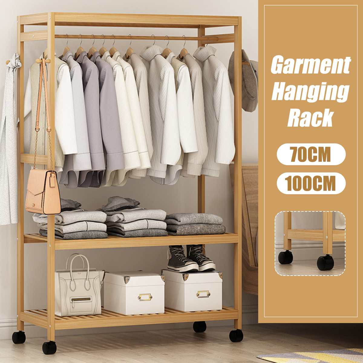 Bamboo Coat Rack Floor Standing Clothes Hanging Storage Shelf Clothes Hanger Racks Bedroom Furniture Garment Closet Rack + Wheel