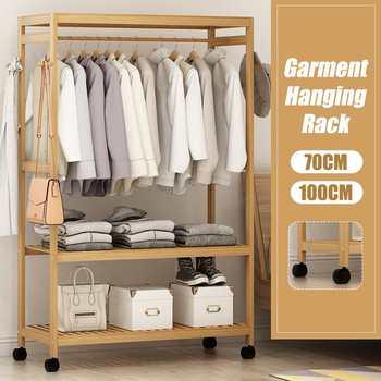 Bamboo Coat Rack Floor Standing Clothes Hanging Storage Shelf Clothes Hanger Racks Bedroom Furniture Garment Closet