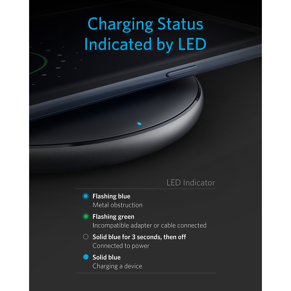 Image 5 - Anker 10W Wireless Charger,Qi Certified Powerwave Pad Upgraded,7.5W for iPhone,10W Fast Charging for Galaxy S10/S9/S8/Note 9etc-in Wireless Chargers from Cellphones & Telecommunications