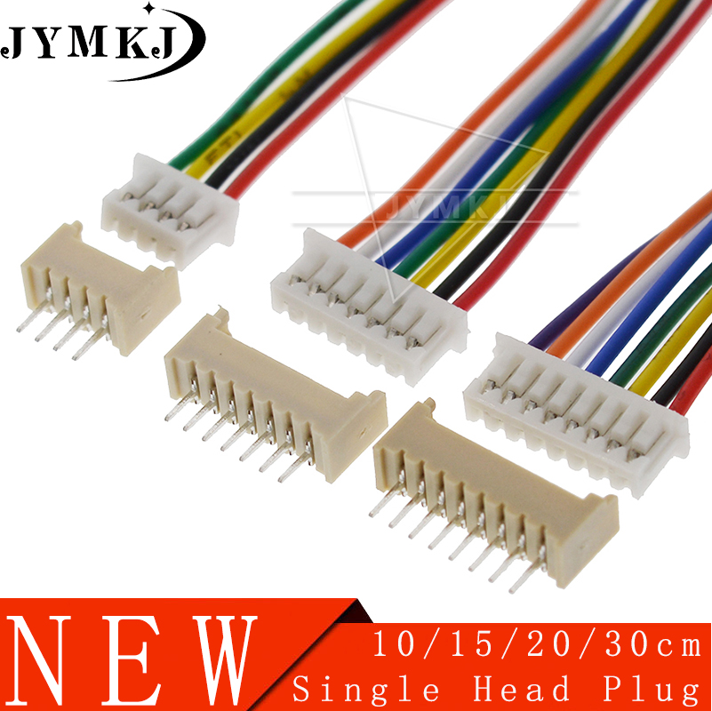 10 Sets JST 1.25 Male & Female PCB Connector JST1.25 2/3/4/5/6/7/<font><b>8</b></font>/9/10 <font><b>Pin</b></font> Single Head <font><b>Plug</b></font> With Electronic Wire Connectors image