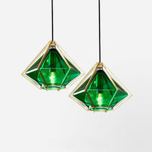 Modern Stained Glass Pendant Lamp Bar Cafe Gold Metal Diamond Hanging Lights Kitchen Living Room Home Decor Suspension Luminaire(China)