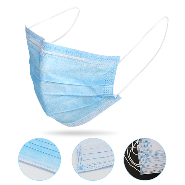 50pcs 3 Layer Non-woven Dust Proof Flu Face Mask In Stocks Blue FaceMasks 3