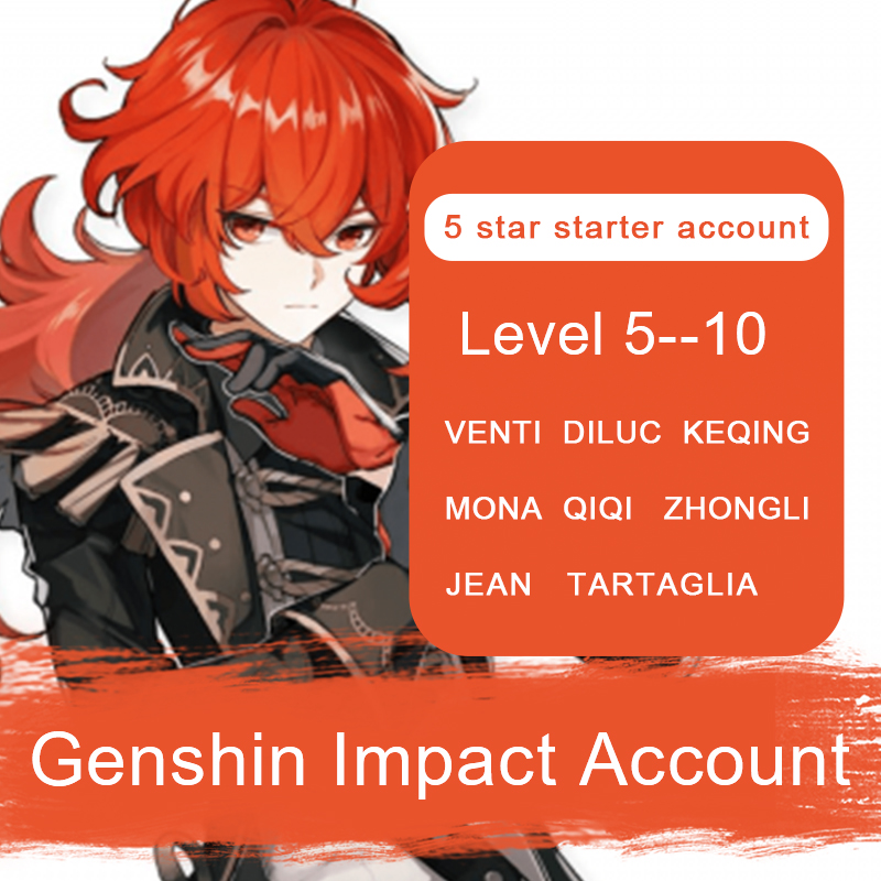 Аккаунт Genshin Impact, Европа, Америка, Азия, 5 звезд, хутао, ганью, Сяо, уменьшение цичи, Кикин, тартаглия, Мона, чжунглли, уровень 5-10
