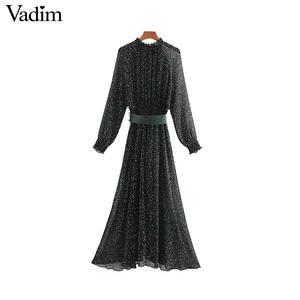 Image 2 - Vadim נשים אלגנטי הדפסת midi שמלה ארוך שרוול אלסטי מותניים חגורה עיצוב נקבה מקרית מפנק אמצע עגל שמלות vestidos QD149
