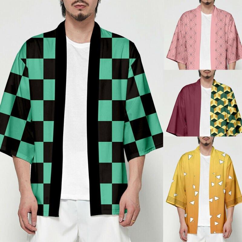 Funny Cosplay Shirts Solid Color Unisex Demon Slayer Kimetsu No Yaiba Characters Cosplay Kimono Haori Show Shirt Special Clothes