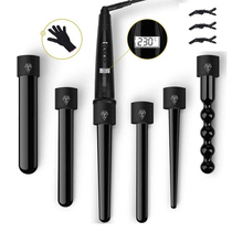6 in 1 Curling Hair Iron Wand Set Temperature Adjustable with 6 Interchangeable