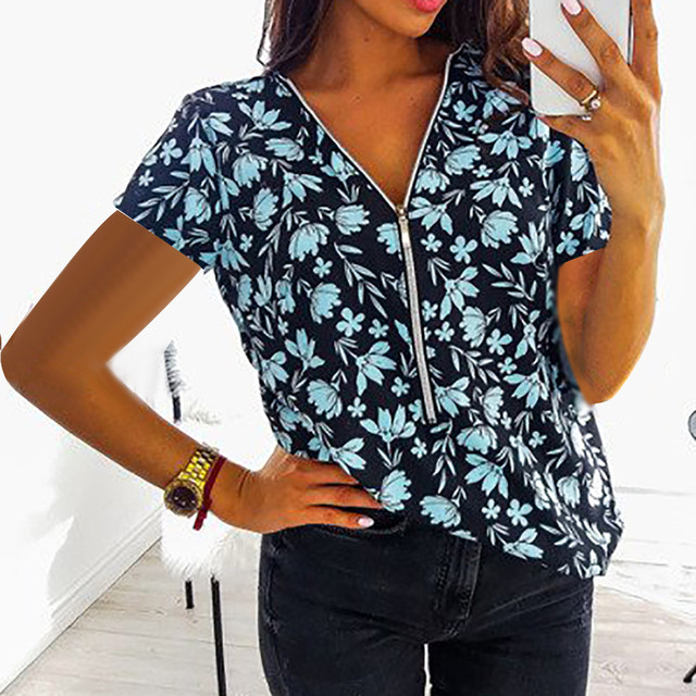 Women Tops T-Shirts Autumn Elegant Short Sleeve Print V-Neck Female Work Zipper Shirts Plus Size Tops 5XL Mujer Blusa clothes 2