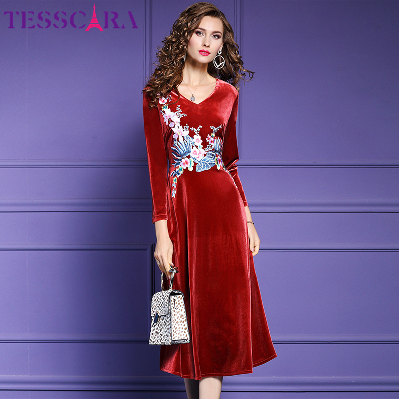 TESSCARA Women Winter Luxury Embroidery Velvet Dress Festa Female Event Party Robe High Quality Floral Designer Vintage Vestidos