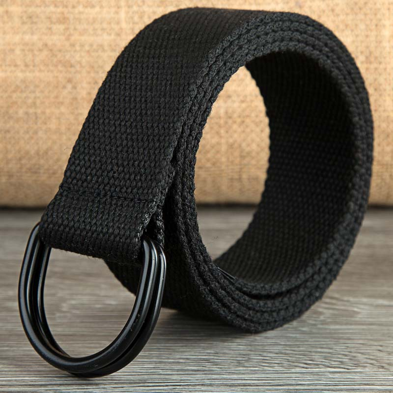 110-160cm Long Punk Canvas Belt Men Women Jeans Decorative Double D Ring Metal Buckle Belt Fashion Street Style Wild Waistband