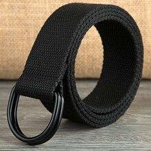 110-160cm Long Punk Canvas Belt Men Women Jeans Decorative Double D Ring Metal B
