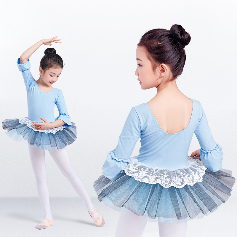 Ballet Tutu Dress Girl Children 3/4 Long Sleeve Performance Tutu Ballet Dance Dress