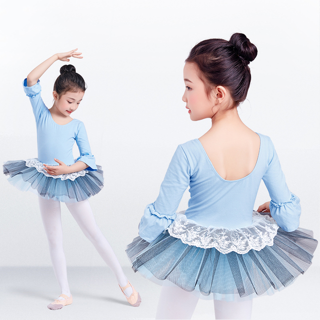Ballet Tutu Dress Girl Children 3/4 Long Sleeve Performance Tutu Ballet Dance Dress