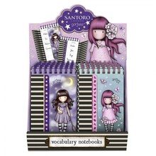 Display 8 assorted vocabulary notebooks Gorjuss sparkle & bloom catch a falling star & cherry blossom 922gjd02