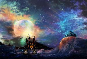 Image 3 - קייט ליל כל הקדושים חלקה ירח טירה תפאורות צילום רקע רקע רקע צילום שמי הלילה ססגוני
