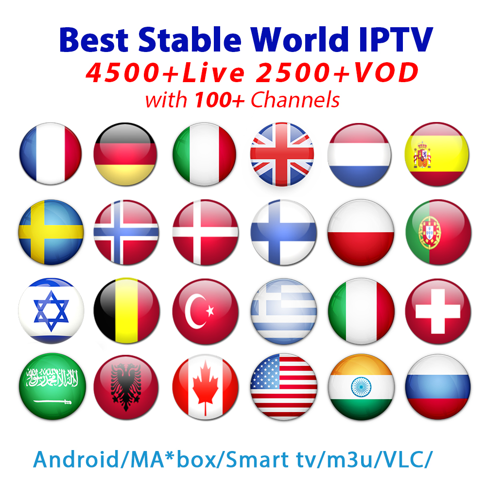 French IPTV 1 year subscription 5900 Europe Arabic Sweden Netherland Germany Italy UK USA CA VOD Iptv m3u enigma2 Android TV Box
