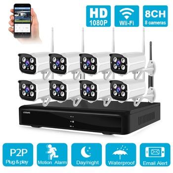 H265 8CH 1080P WiFi IP NVR CCTV Security Surveillance System Kit HD Wireless Outdoor 2MP IR Night Vision Audio Video Camera 720p 1080p wireless surveillance security system 8ch cctv nvr kit outdoor ir night vision camera eu plug uk plug us plug au plug