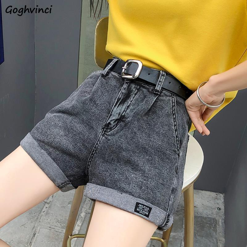 Shorts Women Summer Denim Cuffs Patchwork Washed Solid High-waist Womens Korean-style Loose Slim All-match Ulzzang Trendy Chic