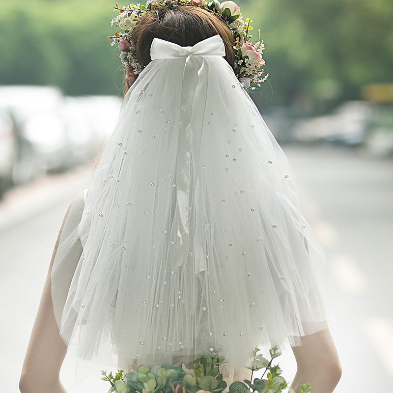 Bow-knot Bridal Veils Wedding Headpiece For Women Hair Accessories Elegant Veil