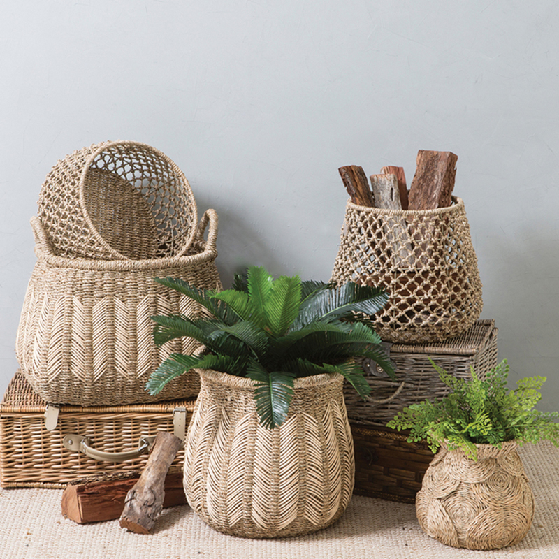 Тканая корзина в естественном стиле, водная плетеная корзина для хранения продуктов, декоративная корзина для растений|Корзины для хранения|   | АлиЭкспресс - Ваш красивый дом