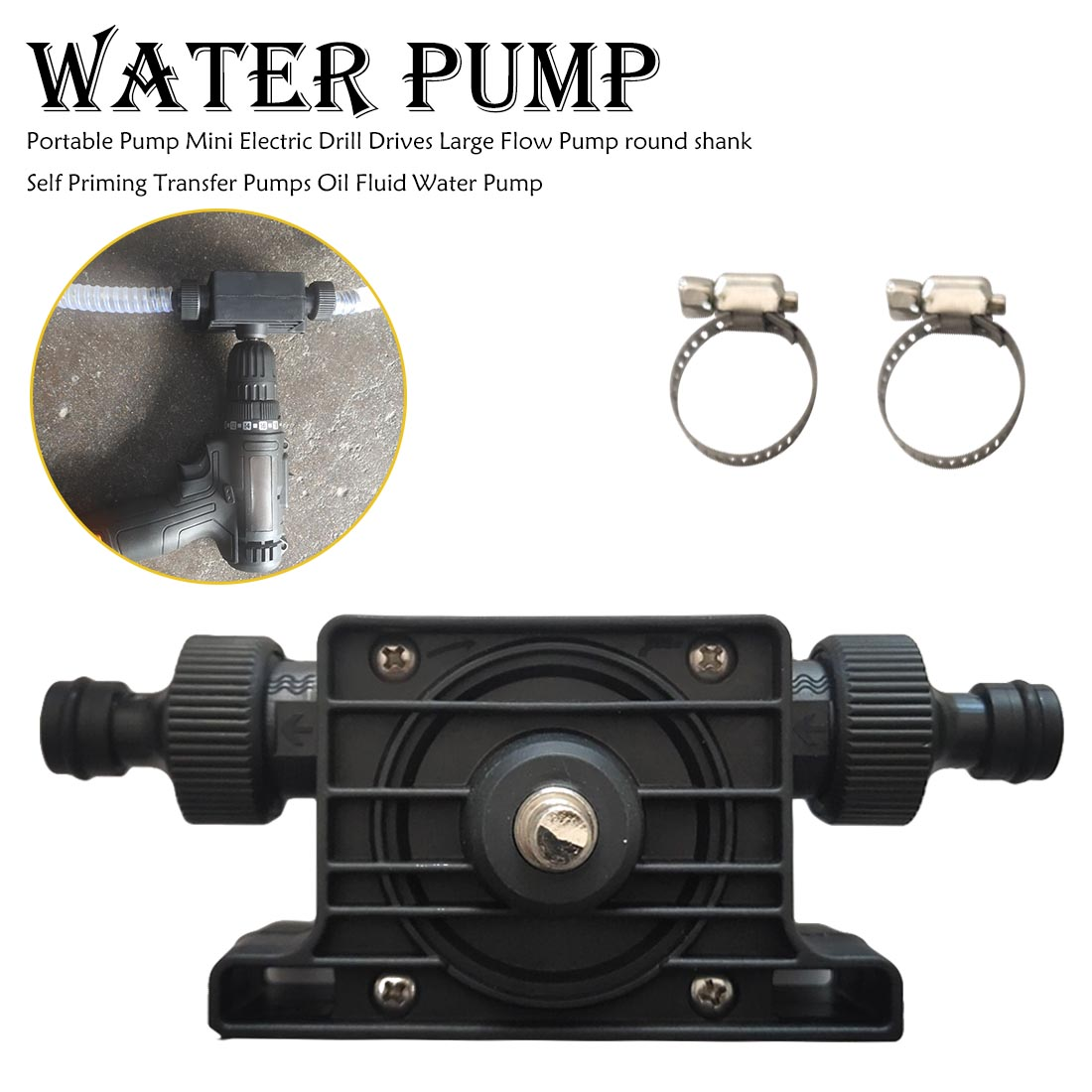8mm Outdoors Mini Self-priming Hand Electric Drill Water Pump Diesel Oil Pump For Home Garden,No Power Source