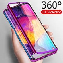 Funda completa con cristal para Samsung Galaxy A70, A60, A50, A40, A30, A20E, A10S, M30, M20, M10, J4, J6, A6, A8 Plus, 360, 2018