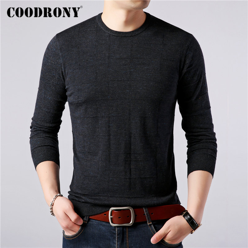 COODRONY Brand Sweater Men Casual O-Neck Pull Homme Knitwear Cotton Wool Pullover Men Autumn Winter Warm Cashmere Sweaters 91085