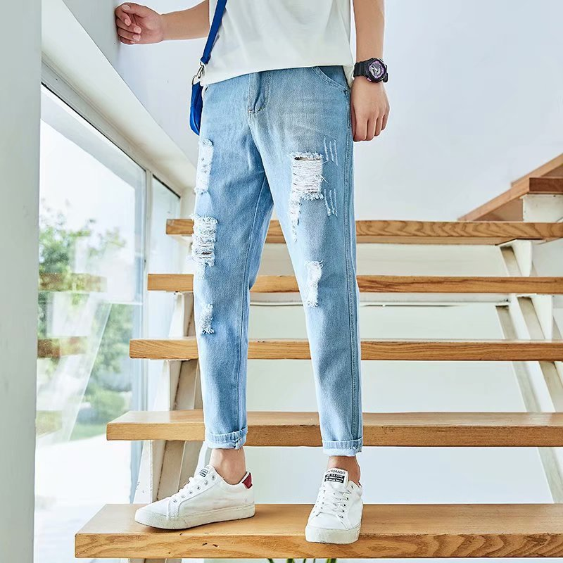 Summer New Style Beggar Cool With Holes Jeans Korean-style Slim Fit Pants Casual Capri Pants Sub-Teenager Men's Trousers