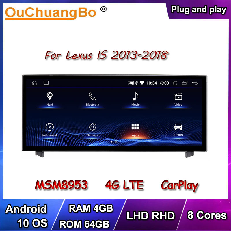 Ouchuangbo Android 10 Car Radio GPS Stereo For Lexus IS IS200 IS250 IS300 IS350 2013-2017 Support LHD RHD 8 Cores 64GB CarPlay