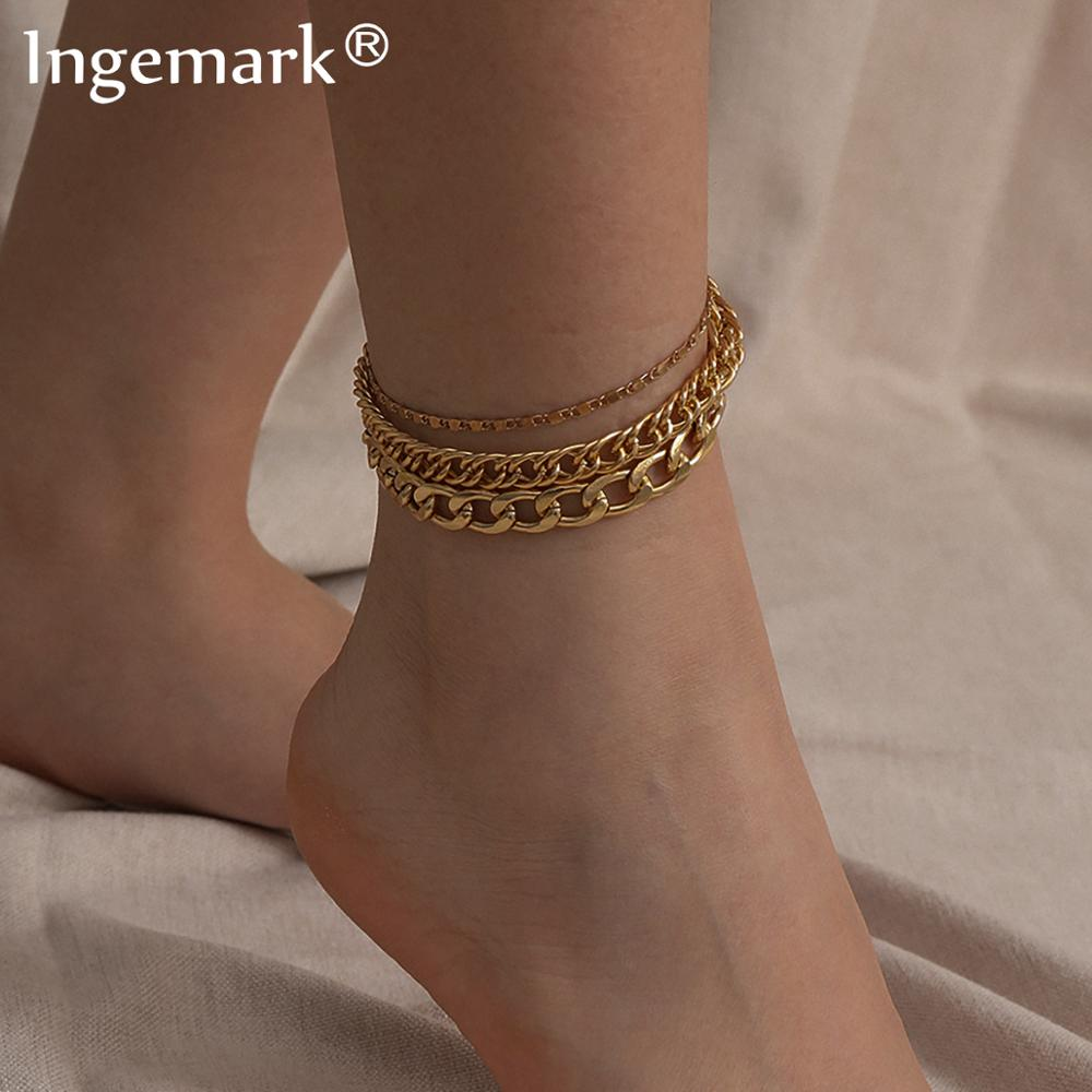 Boho Layered Gold Colr Cuban Chunky Chain Ankle Bracelet Women Foot Accessories Summer Beach Barefoot Sandals Anklet Leg Jewelry
