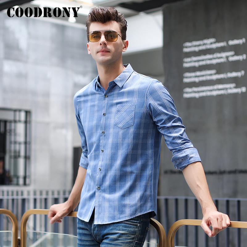 COODRONY Brand Spring Autumn Fashion Plaid Mens Shirts Long Sleeve Shirt Men With Pocket Business Casual Camisa Masculina C6007