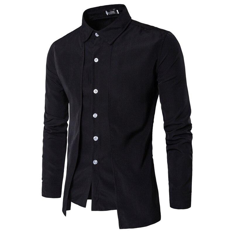 ZOGAA New Shirt Men Casual Slim Fit Shirts Long SleeveTurn-down Colllar Mens Dress Shirts Solid Black Red Shirts For Man Clothes