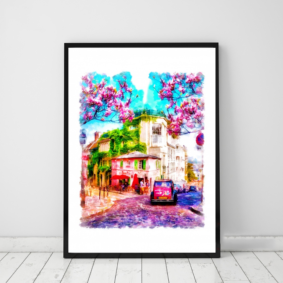 Restaurant La Maison Rose Watercolor Travel art Poster Canvas Art Print Wall Pictures for Living Room No Frame image