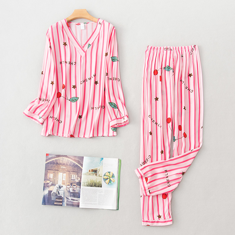 Daeyard Cotton Pajamas For Women Long Sleeve Shirts And Pants 2 Pcs Overall Printing Pyjama Sets O-Neck Pullover Comfy Homewear