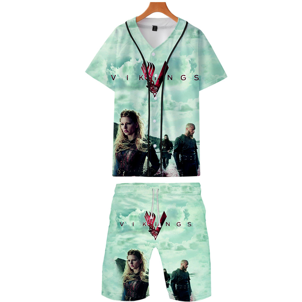 Vikings Tv Series Shirts+Pants Sets 3D Printed Norsemen Vikings Mens Suit Camisa Beachwear Streetwear Hawaii Blouse Shorts Set