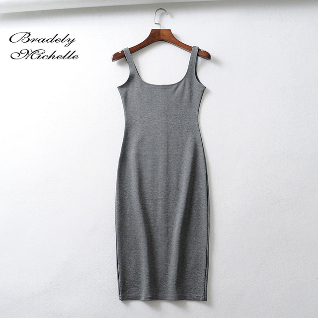 Bradely Michelle Summer Dress Vestido Women's Sexy Back Slit Sleeveless Bodycon Tank Knee-length Dress 4