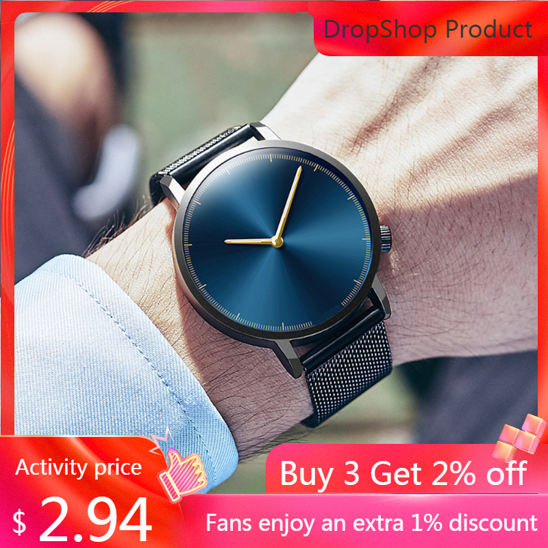 Male Watch Clock Quartz Classic Business Stainless-Steel Gold Relogio Masculino Fashion