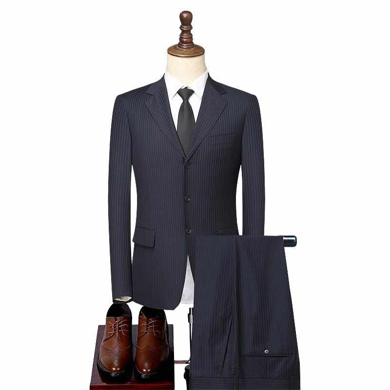 Vestito Degli Uomini Giacca Sportiva Giacca Pantaloni Slim Fit Abiti di Lana Set di Lavoro di Ufficio Abiti Formali Abito da Sposa Singoli Petto di Lana Sposo vestito