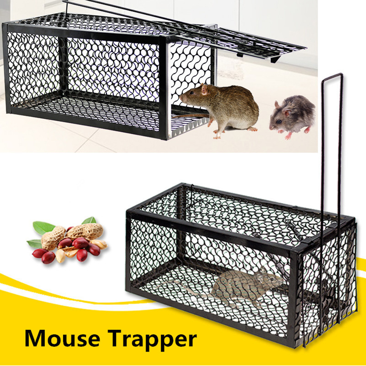 Mouse Mice Rat Rodent Animal Control Catch Bait Humane Live Traps Hamster Cage M