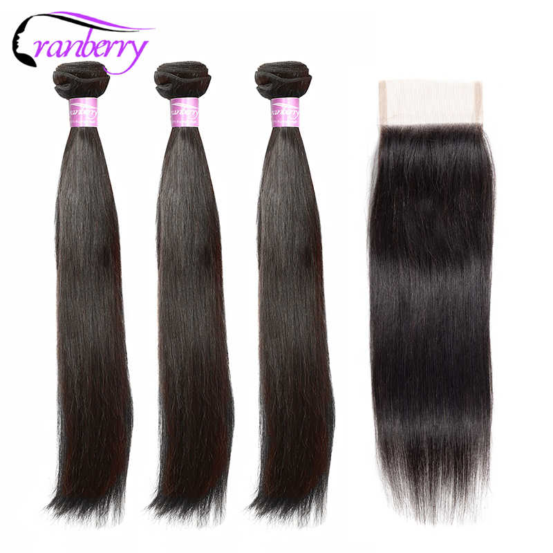 "CRANBERRY Hair 8""-26"" M Straight Hair Bundles With Closure Remy Human Hair Bundles With Closure Brazilian Hair Weave Bundles"