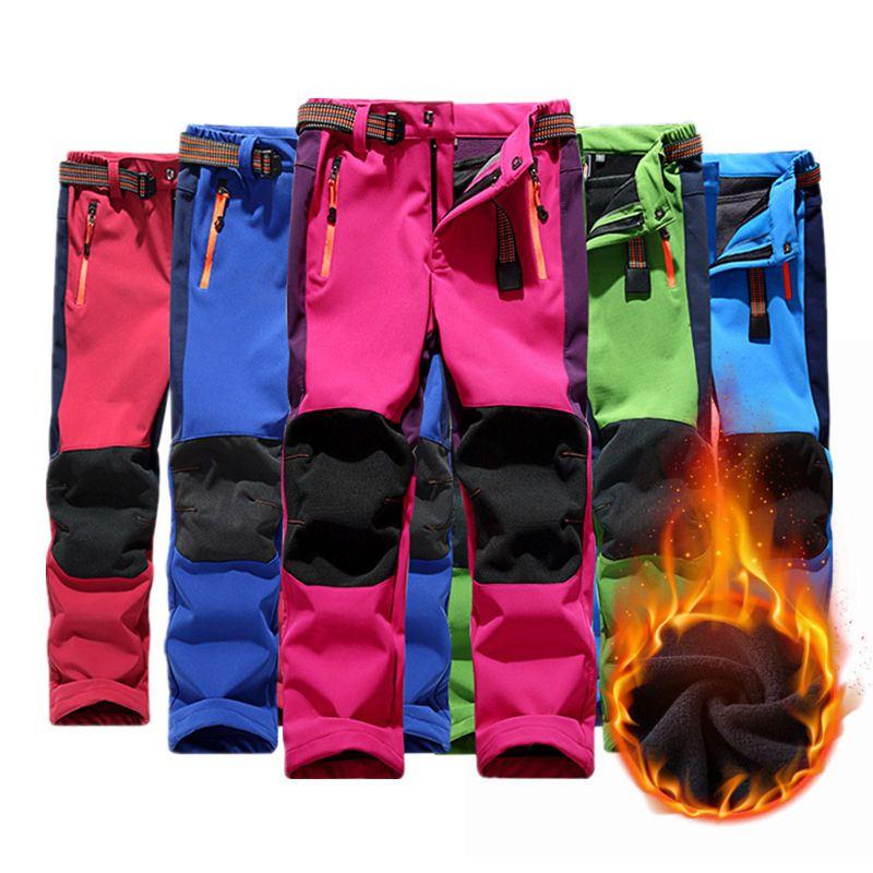 Children Winter Fleece Hiking Pants Softshell Kids Waterproof Camping Trekking Skiing Trousers Pants For Boys Girls 110-160CM