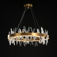 Modern Gold Crystal Chandelier Lighting  For Dining Room Round Design Chandeliers Inddoor Light Fixtures LED Cristal Lustre new design large crystal chandeliers lighting fixtures lustre de cristal led light chandelier living room lamps