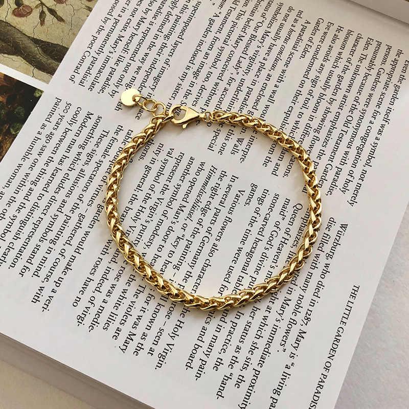 Silvology 925 סטרלינג כסף עבה שרשרת צמידי 18K זהב מינימליסטי באיכות גבוהה רחב שרשרת נשים צמידי תכשיטי מפלגה